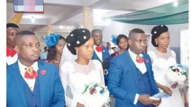 Photo of Twin sisters wed Twin brothers in Lagos…use twin groomsmen (photos)