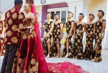 "Photo of Nigerian couple takes it a notch higher as wedding gown is sewn with ""Isi agu"""