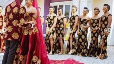 """Photo of Nigerian couple takes it a notch higher as wedding gown is sewn with """"Isi agu"""""""