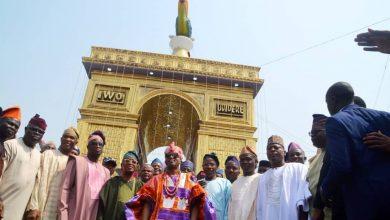 Photo of Oluwo of Iwo, Oba Abdulrasheed Akanbi unveils Telu Towers (Photos)