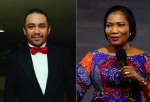 Photo of Pastor Funke Adejumo while telling church members to sow a seed, asks to be recorded offline, to avoid being attacked (video)