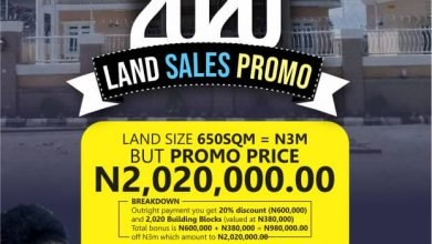 Photo of 2020 promo: Abuja Airport Road Estate slashes land sales to N2,020,000, offers 2,020 free blocks, 20 percent discounts