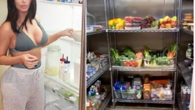 Photo of Nigerians react as Kim Kardashian displays her kitchen, pantry, and walk-in fridge (video)