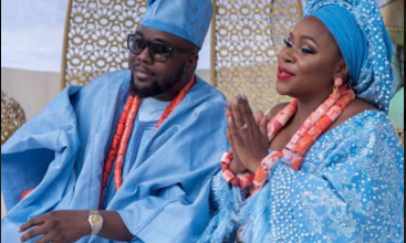 Photo of Omawunmi and husband celebrate wedding anniversary