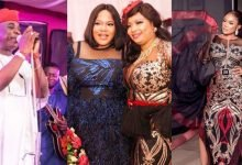 Photo of Iyabo Ojo, Toyin Abraham, Tayo Sobola, Foluke Daramola, others dazzle in gold and black asoebi (photos)