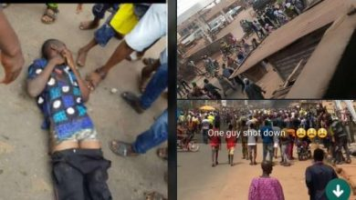 Photo of One shot as people protest against SARS in Sagamu, Ogun State (VIDEO)