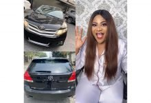 Photo of Nkechi Blessing curses those who are not pleased at the new car she bought as birthday gift