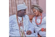 Photo of Ooni of Ife and wife, prophetess Seyi Naomi can't take their eyes off each other at Esther Ajayi's church (photos)