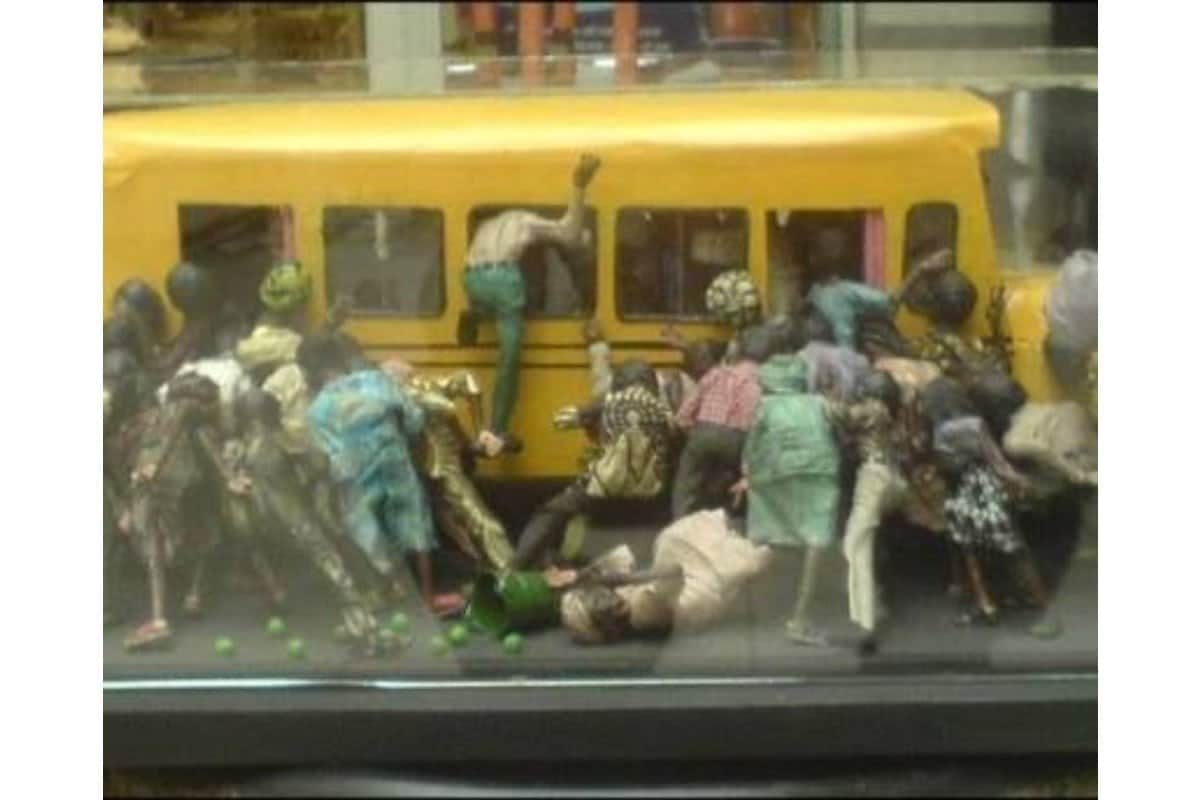 People running from a Chinese man in a public bus