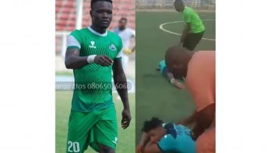 Photo of Tears as Nigerian footballer, Martins dies after colliding with another footballer on the pitch
