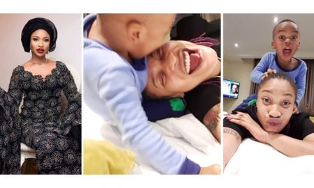 Tonto Dikeh shares a video of what her son did to her half naked photos
