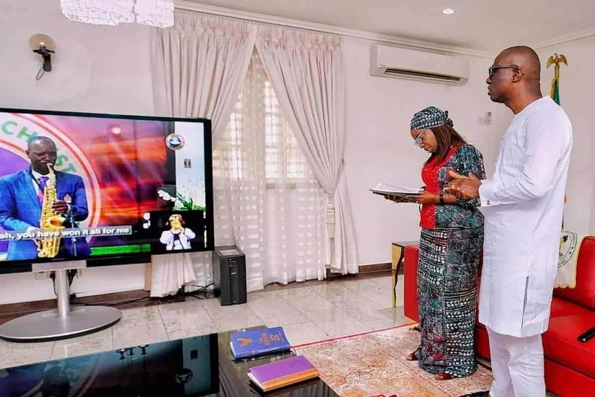 Babajide Sanwo-Olu celebrating easter with his wife