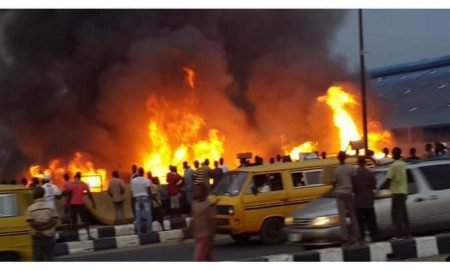 Fire outbreak in Ogba, Lagos
