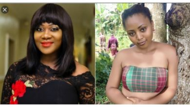 Photo of Mercy Johnson ignores Regina Daniels as others congratulate her for giving birth