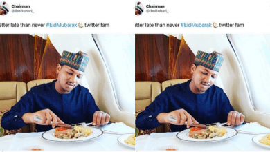 Photo of Buhari savagely drags follower who pointed out his mistake while eating