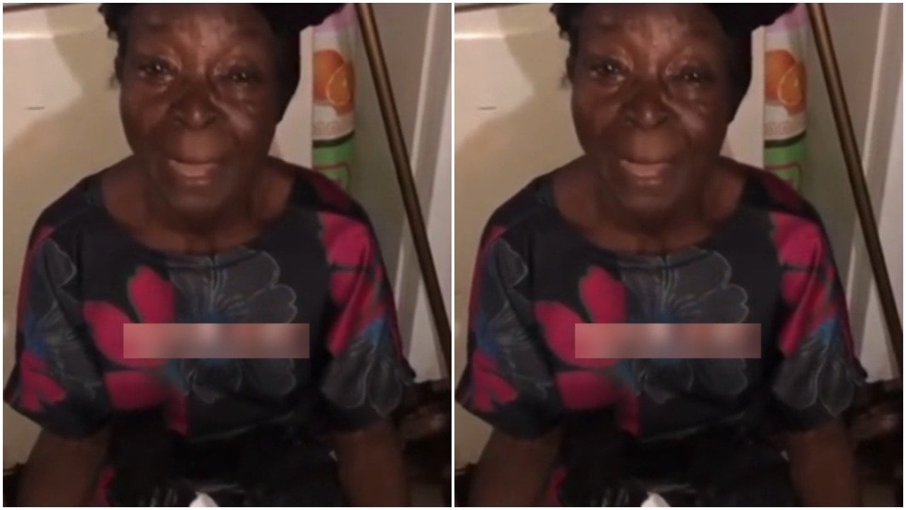 Old woman cries out for help