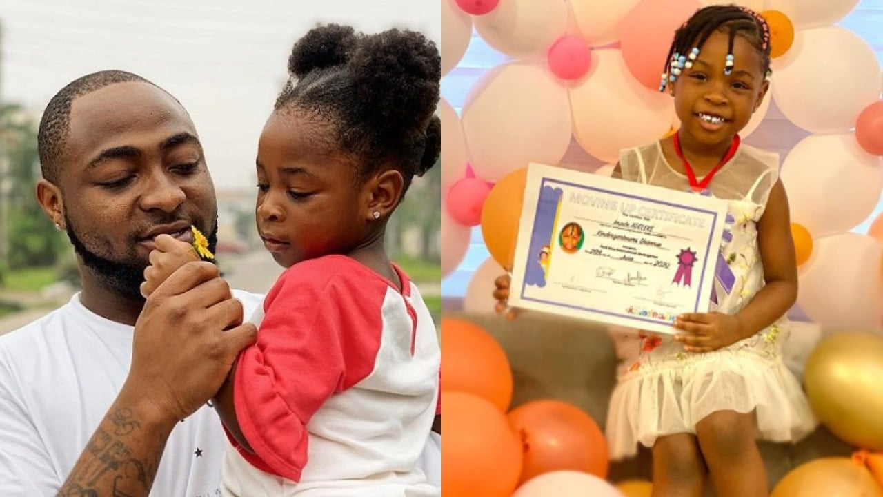 Photo of Davido buys his daughter, Imade a gift as she graduates from Kindergarten to Nursery class | Pictures