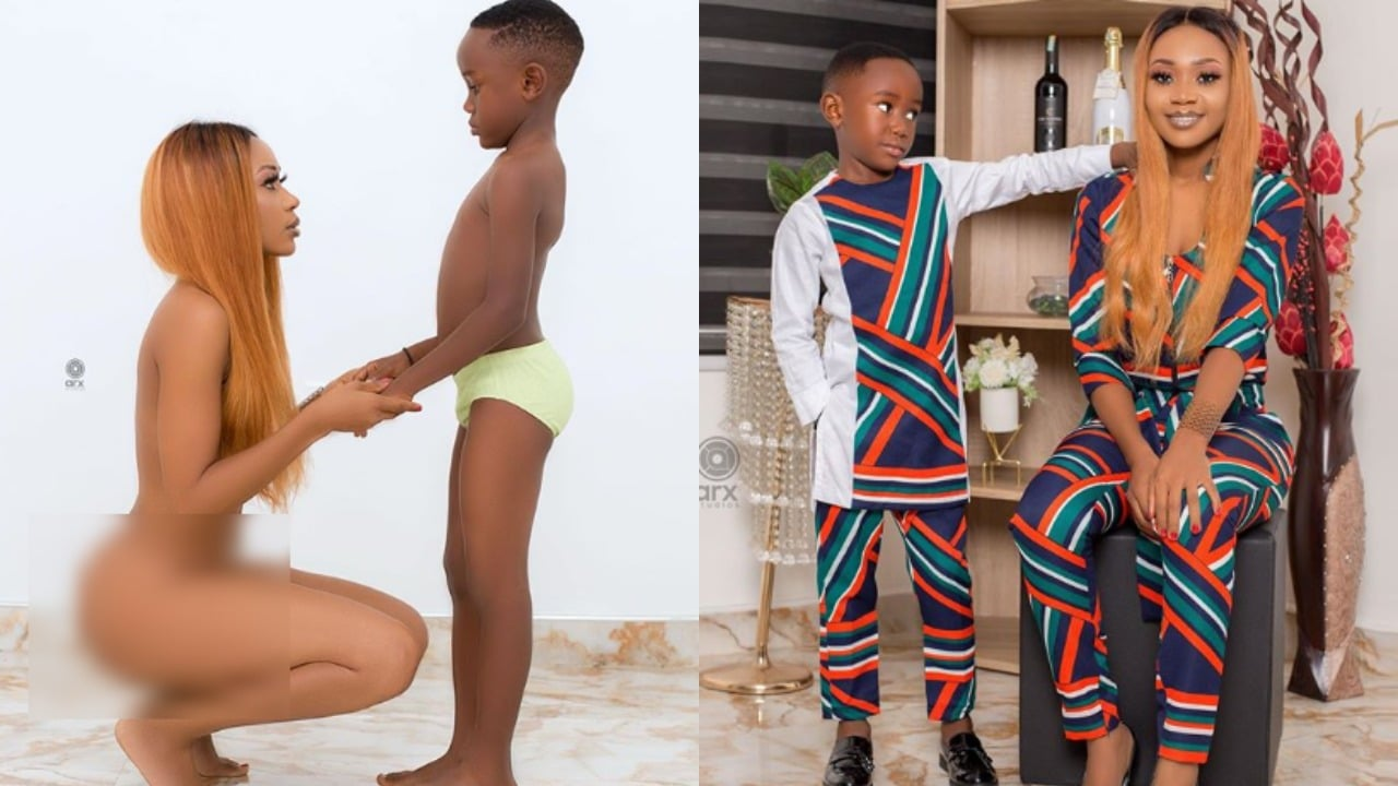 Photo of Popular Actress, Akuapem Poloo arrested for taking nak*d pictures with her son on his birthday