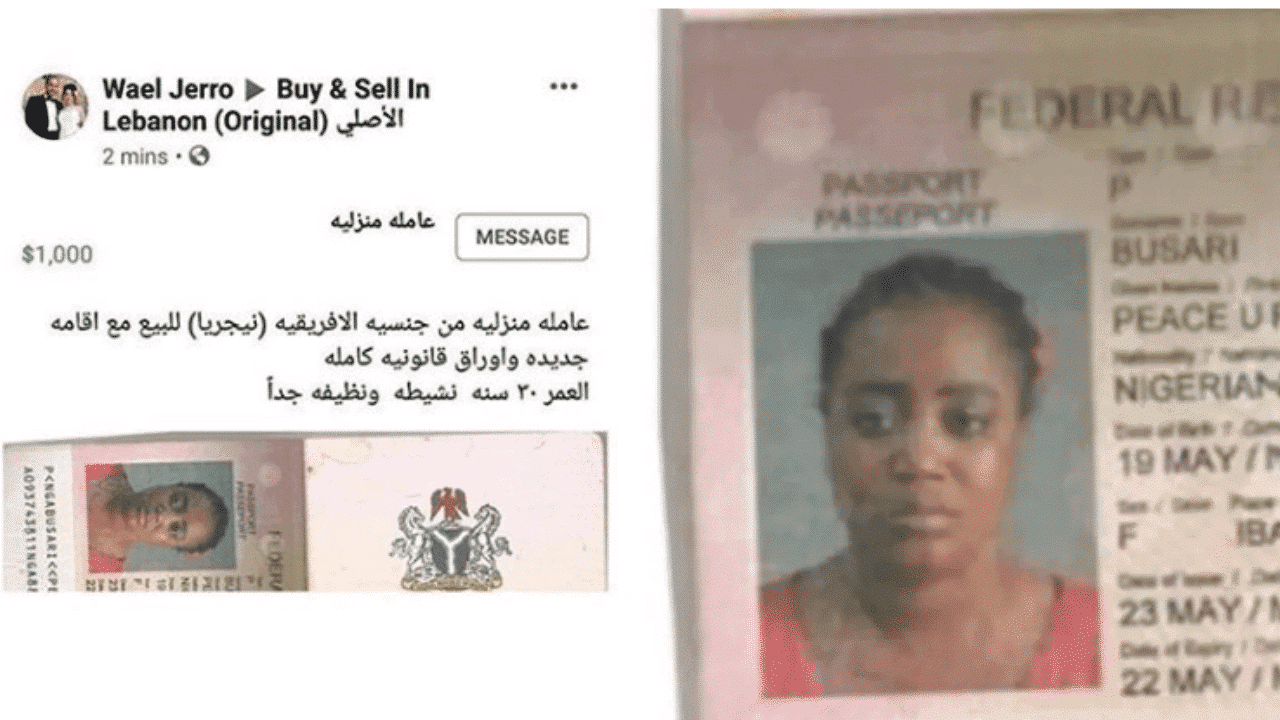 Photo of Lady put up for sale in Lebanon refuses to return to Nigeria