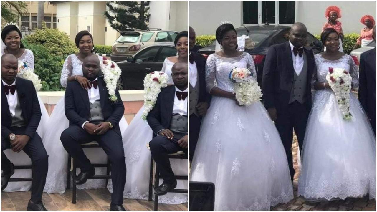 Photo of Triplet Grooms who got married to their wives on same day, at same venue in Enugu reveal why and how it happened