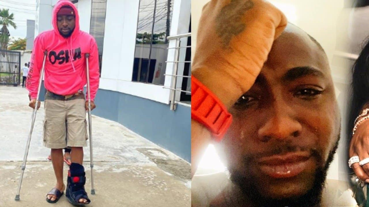 Photo of Davido undergoes cleansing after accident that put him on clutches