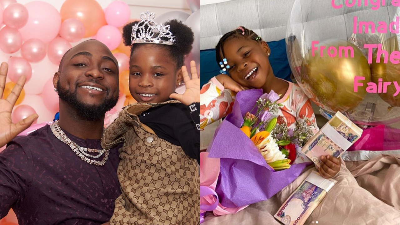 Photo of Nigerians react after seeing what Davido's daughter, Imade got as a gift after loosing her first tooth