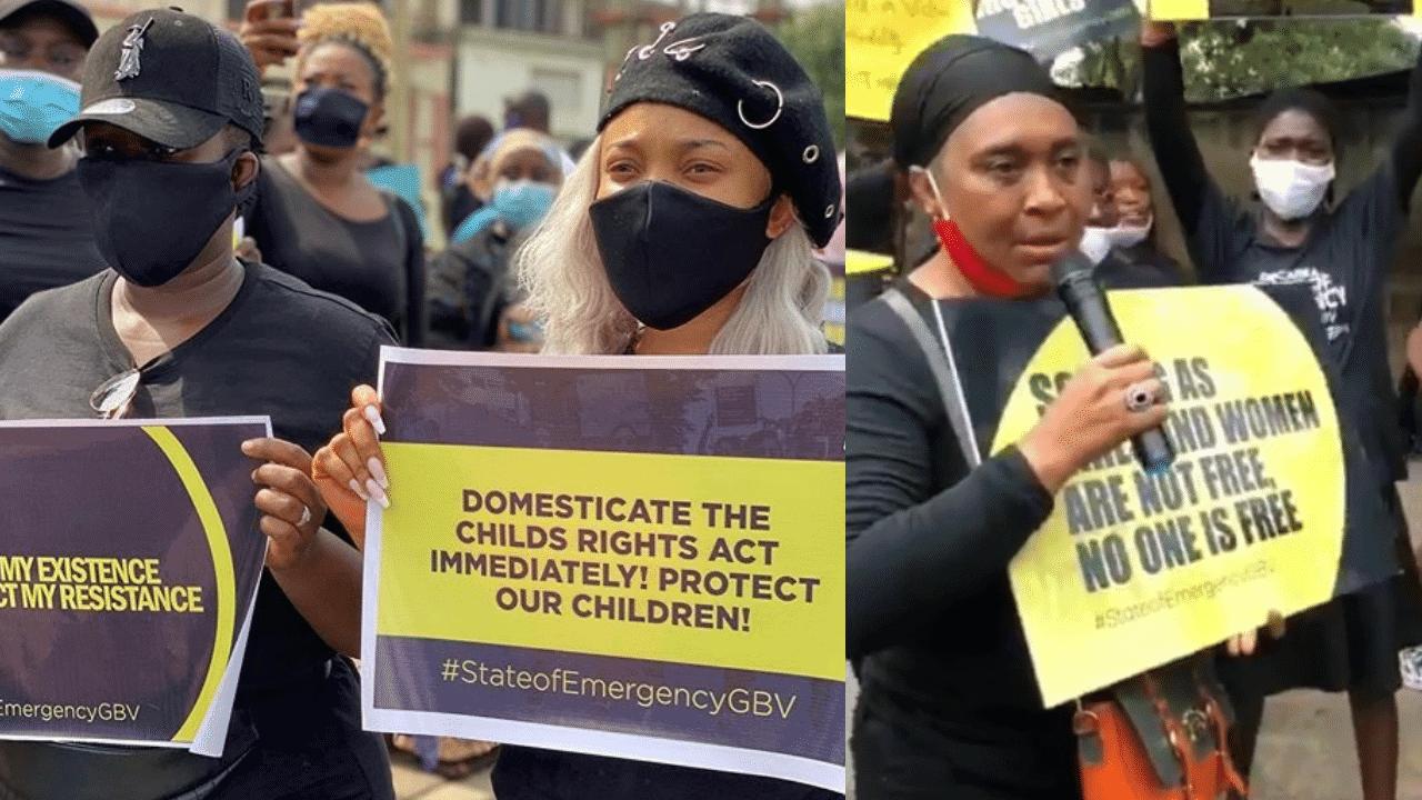 Photo of Tonto Dikeh, Hilda Dokubo, Real Warri Pikin, others protest against rape