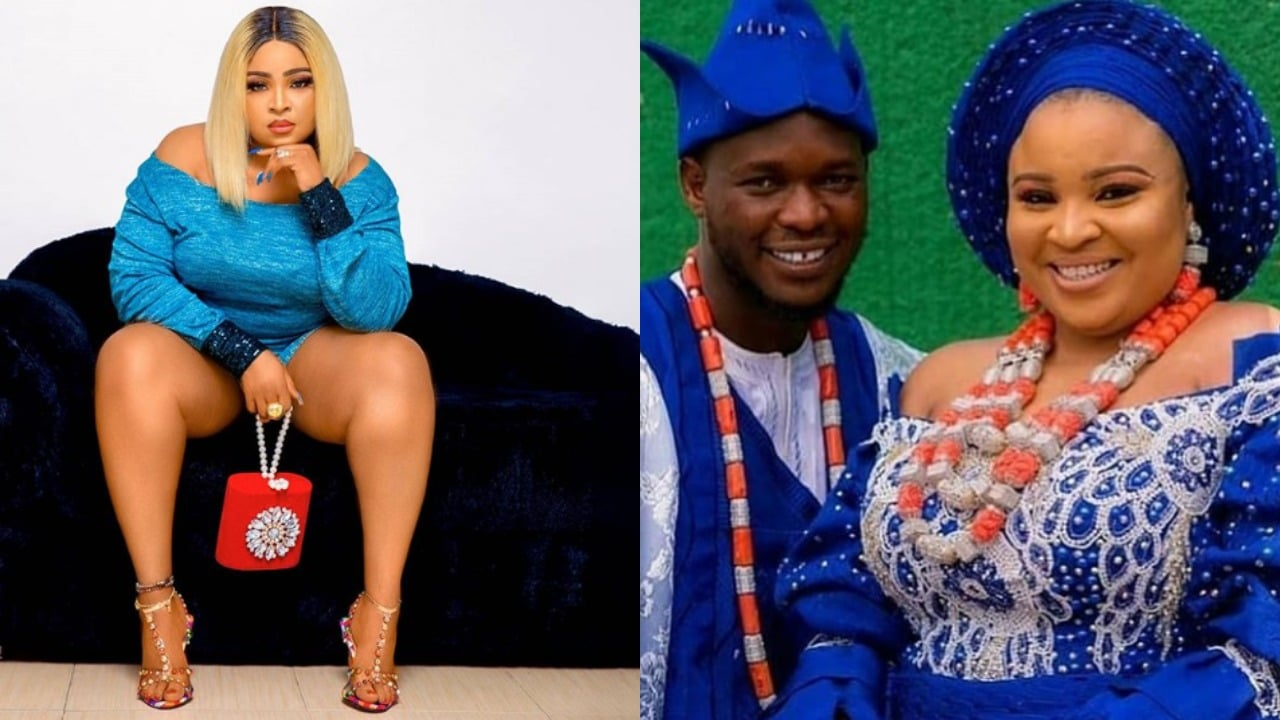 Photo of Actress and bleaching expert, Bimbo Afolayan publicly demands her bride price from husband, Okiki |Details