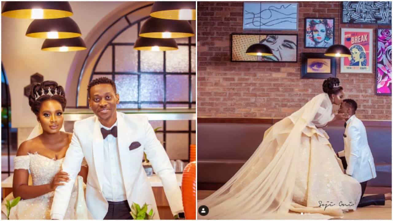 Photo of The moment Lateef Adedimeji sang for his bride, Adebimpe Oyebade before exchanging the vows (video)