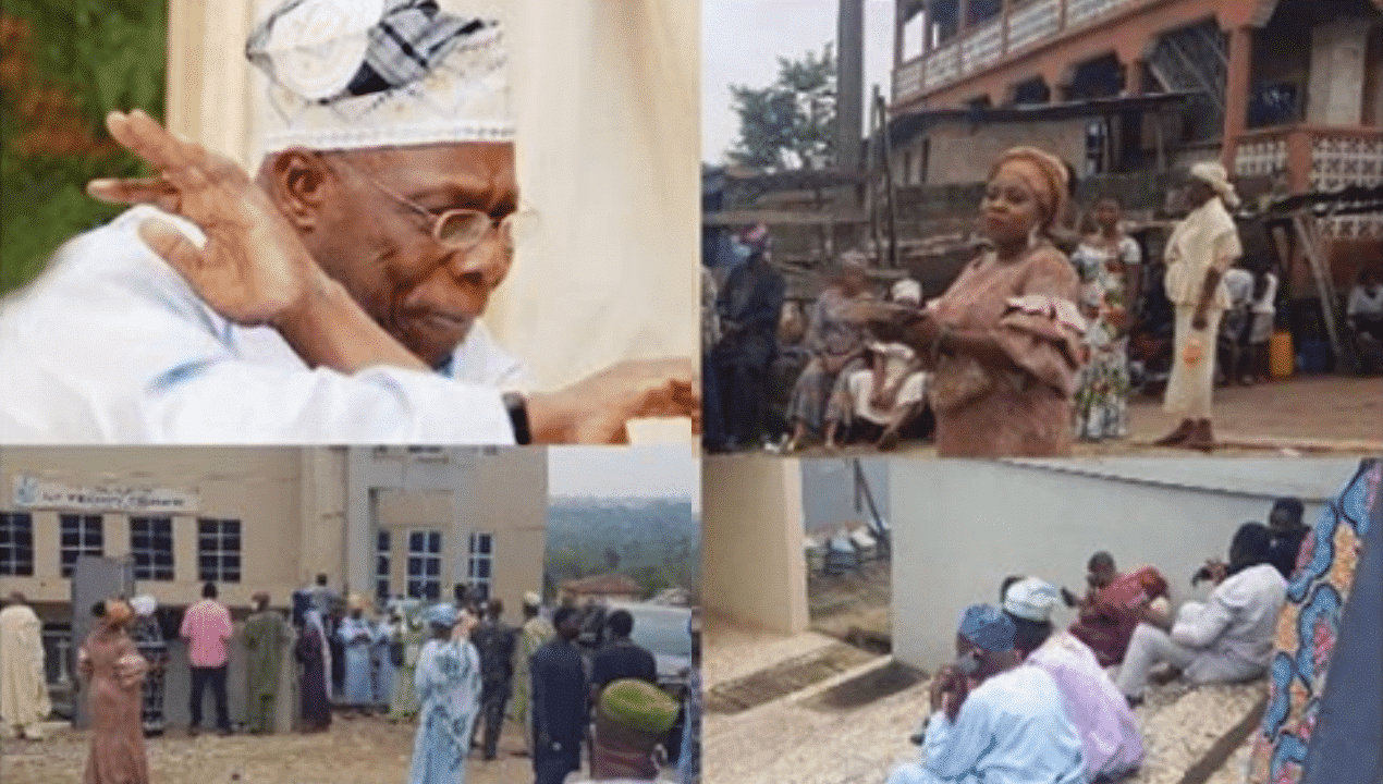 Photo of Covid-19: Drama as Obasanjo turns bouncer,  chases mourners out of burial | Photos