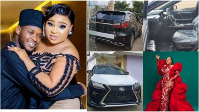 Photo of Bimbo Afolayan receives brand new Lexus SUV  from husband, Okiki on her birthday