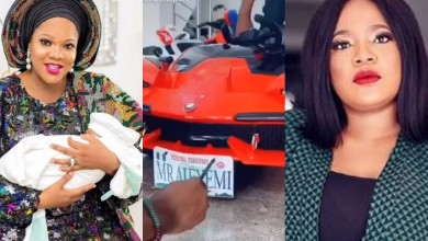 Photo of Months after getting him a jeep, Toyin Abraham buys son a customized lambo and swing car to mark first birthday (photos)