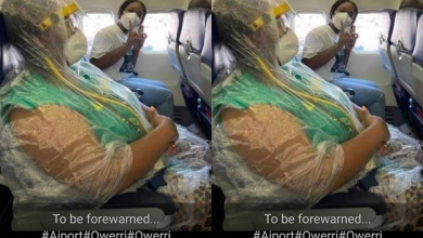 Photo of Commotion as Igbo woman storms Owerri Airport with her 'premium Coronavirus prevention outfit'