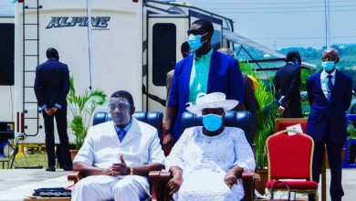Photo of Adeboye steps out in face shield, wife, son rock facemask