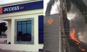 Access bank on fire