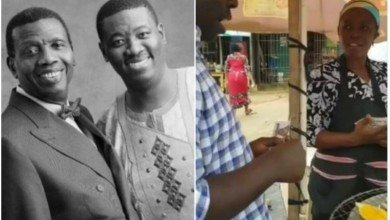 Photo of Pastor Adeboye's son, Leke showers corn seller with money gift after he spotted her doing this