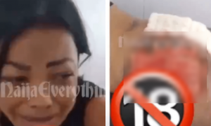 Tears flow freely as lady's silicone bumbum bursts