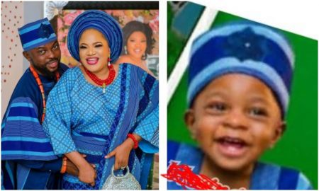 Toyin Abraham and son, Ire