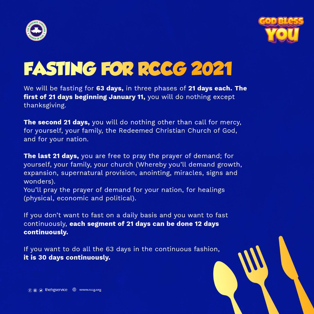 RCCG 2021 fasting guide