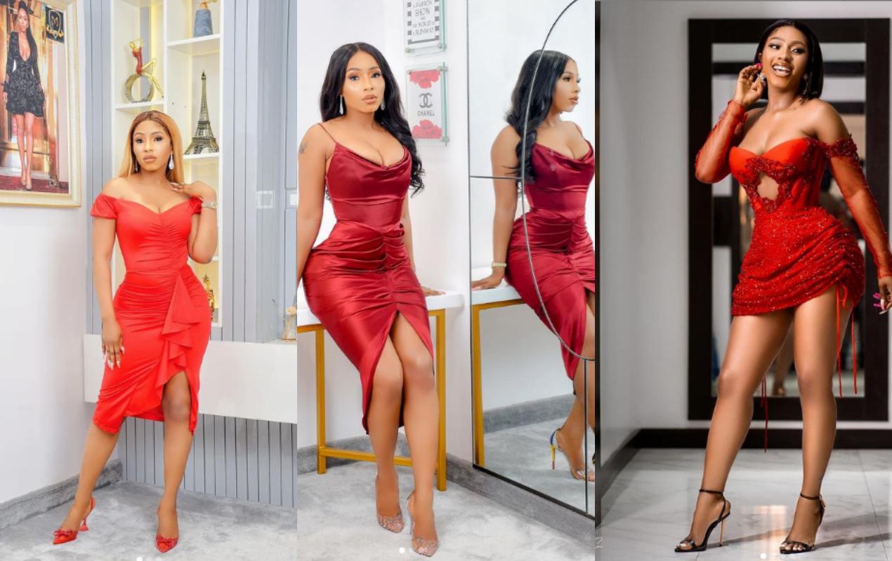 Mercy Eke in red dress