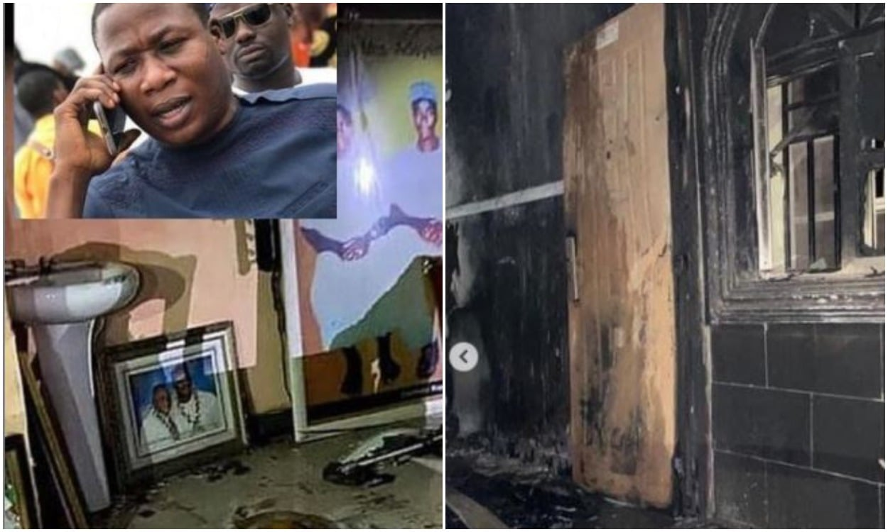 Sunday Igboho's house burnt down to ashes