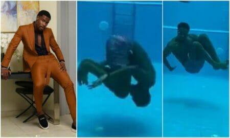 neo shows off swimming skills