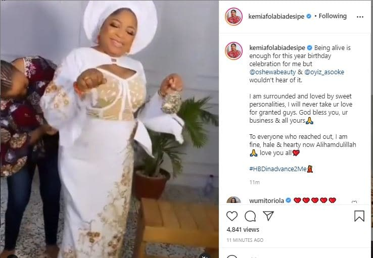 Being alive is enough for this year birthday celebration Kemi Afolabi says