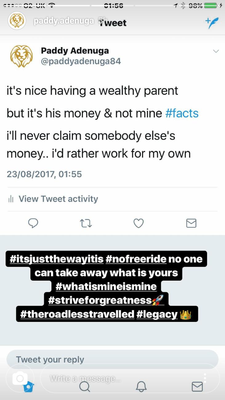 Paddy Adenuga wealthy parent