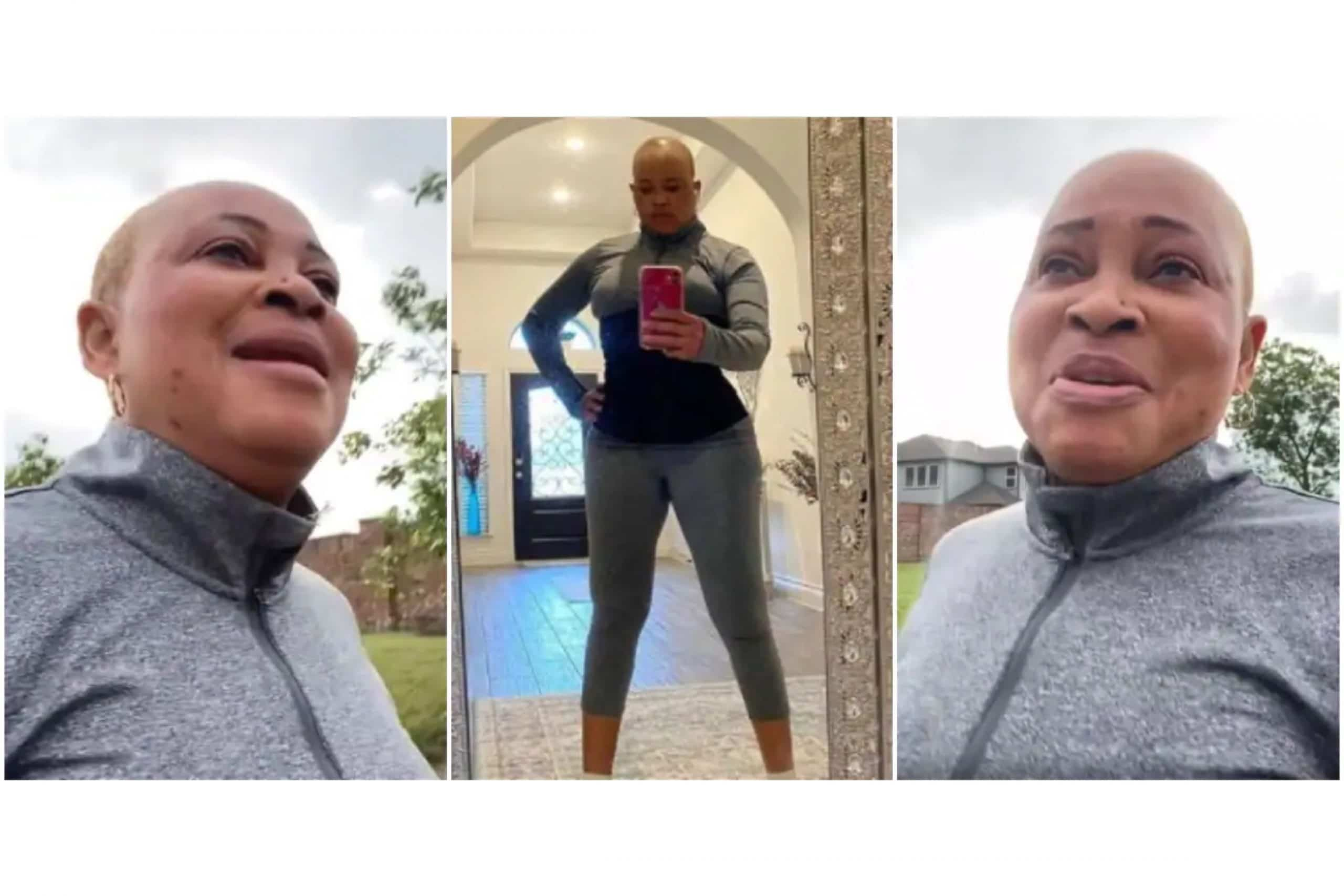 54-year-old actress Bukky Wright hits the gym again after a month of staying away
