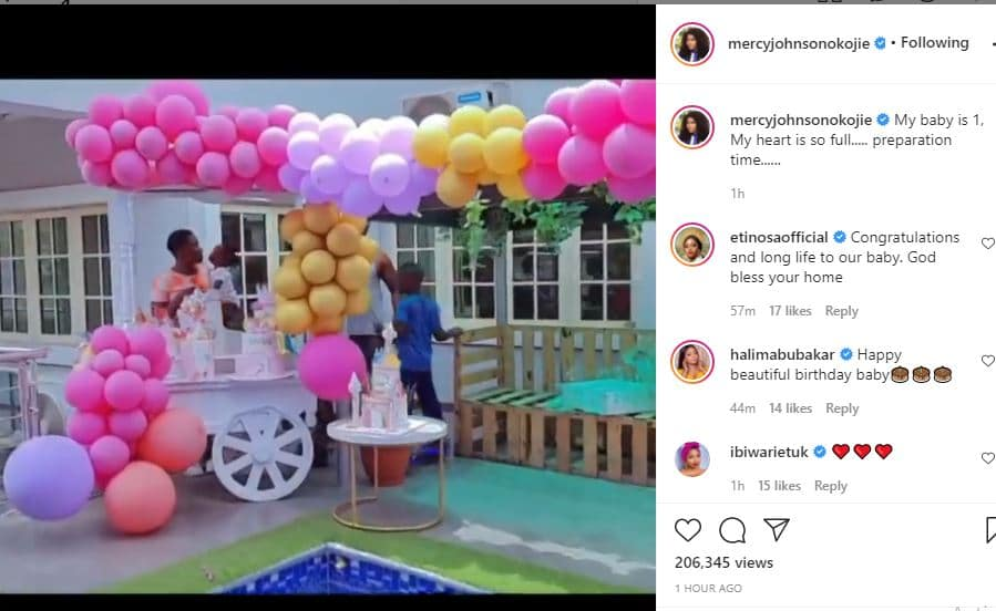 My heart is so full Mercy Johnson says as her daughter clocks one