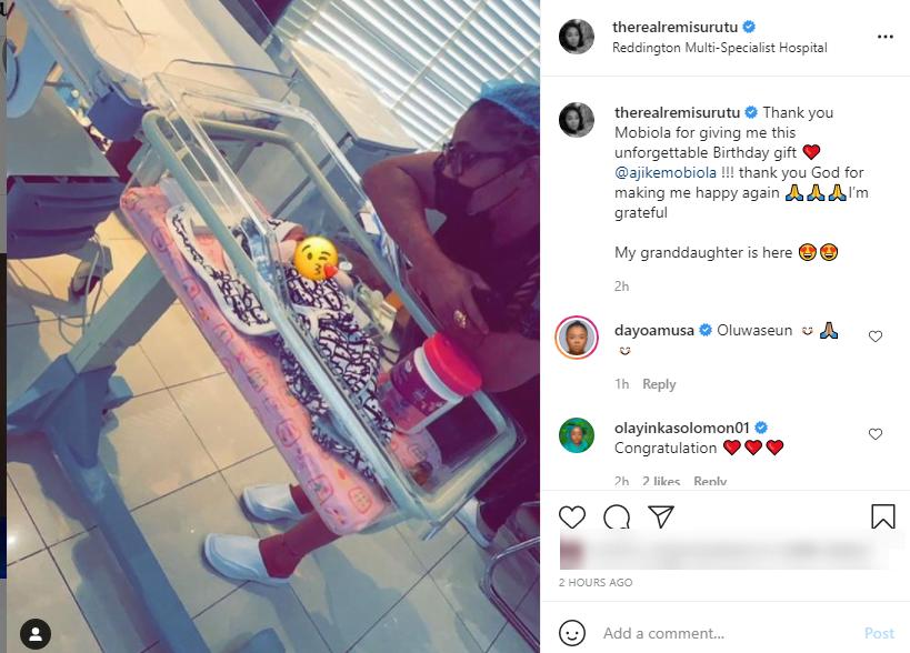 Actress, Remi Surutu officially becomes a Grandma