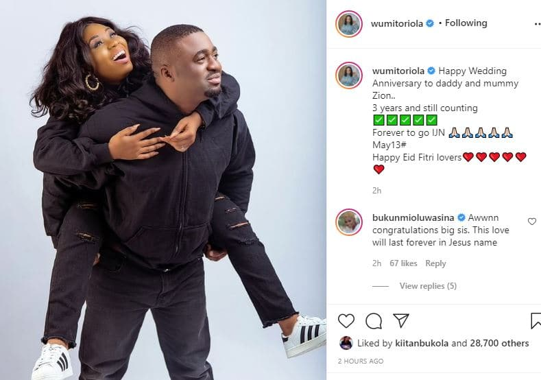 Actress Wunmi Toriola shares rare moment with her husband as they celebrate 3rd wedding Anniversary