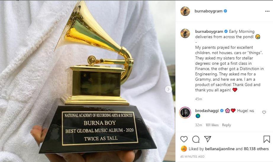 Burna Boy receives his Grammy Award plaque