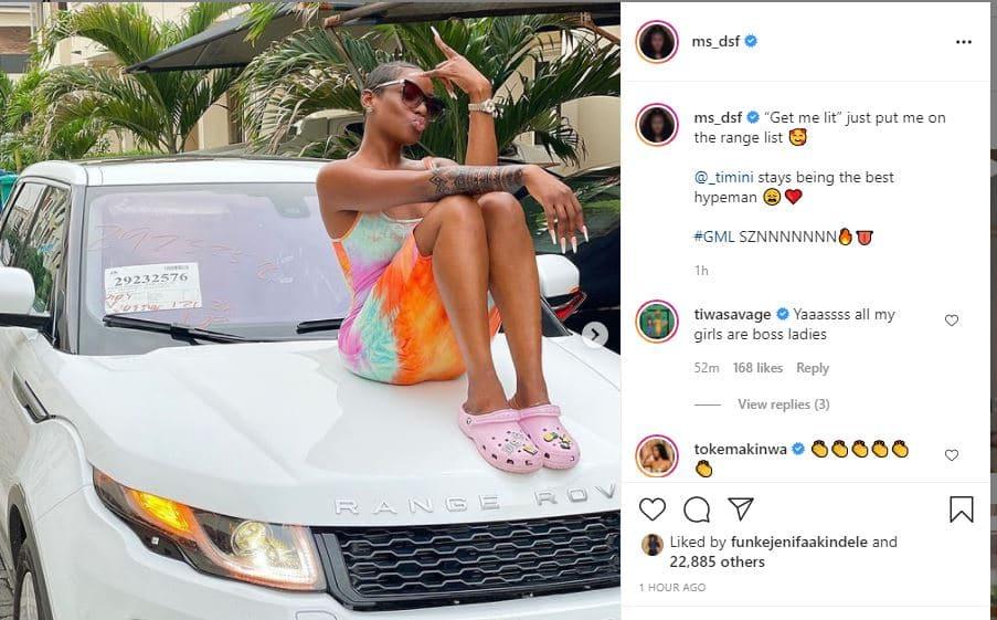 Actress Dorcas Fapson joins Range Rover gang in Lagos